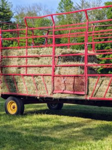 The hay trailer has high walls on the left, right, and back sides, and a short wall on the front side to contain the bales which are stacked neatly from front to back. The trailer fills up pretty quickly.
