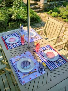 Here's another photo. We folded my Americana Kitchen Towels in half to make these matching placemats.