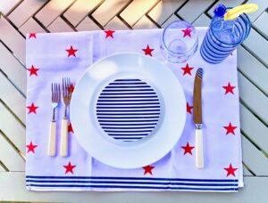 The plates come in red stripes and these blue stripes.