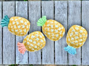 If you want a whimsical fruit theme for your next summer family dinner, use these So-Cal Melamine Figural Appetizer Plates from Martha Stewart Collection. These tropical themed dishes are great for sides or dips.