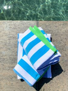 All my beach towels are made from soft Turkish cotton. Plus, they're big - 38 inches by 68 inches.