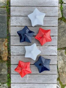 Add star power to individual entrées or desserts with this colorful trio of Americana stoneware cocottes from my Collection. Each one has a matching lid.