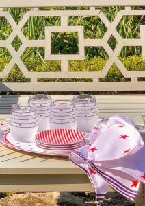 Here is my Martha Stewart Collection's set of four Americana stemless wine glasses, each decorated with a patriotic stars and stripes motif. Each glass holds about 14.5 ounces - perfect for wine, or any beverage on a warm summer's day.