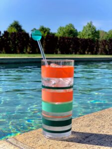 My acrylic Tom Collins glasses and stirrer sticks are also made exclusively for Macy's.