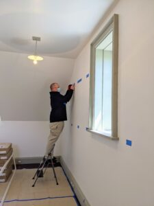 The next step was the installation. California Closets Master Installer, Brandon McWayne, came to the farm to put it all together. He came well prepared with his mask and gloves. These units can also be self-installed over a weekend.
