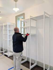 The shelving and drawers are made of eco-friendly wood in bright white.