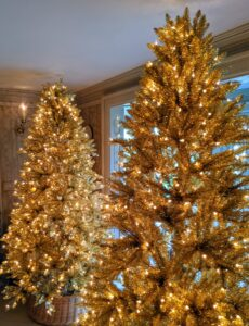 And don't forget my gorgeous tinsel trees. I am offering these trees in gold and silver. Each tree is pre-lit with 800 clear incandescent lights. These trees put anyone in the holiday spirit.