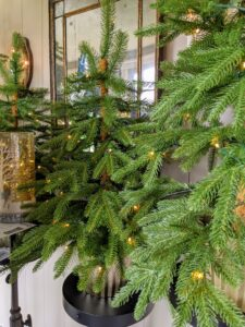 We placed several together on my porch - they look so natural and festive. They're modeled after the Siberian Spruce trees here at my farm.
