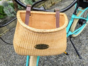 On the front of my bike is a Nantucket Bike Basket Co. Lightship Bike Basket from LLBean. This basket is also temporarily sold out, but keep checking their web site.