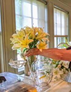 A smaller vase is used for these gorgeous yellow lilies.