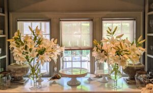 And here are the two large white lily arrangements on the counter in my servery. Every arrangement is so pretty. If you don't already, I hope this inspires you to grow your own lilies. What are your favorite varieties and colors?