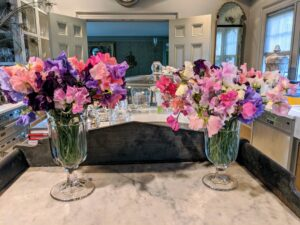 And these two arrangements are for my servery - the fragrance is intoxicating. What are your favorite sweet peas? Share your comments with me below.