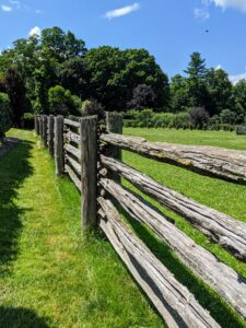 I have lots of fencing here on the farm. This antique fencing surrounds all my horse paddocks and various trees. The antique pasture railings were constructed into a split rail fence, but now many of these cedar uprights are wobbly and no longer support the railings as they should.