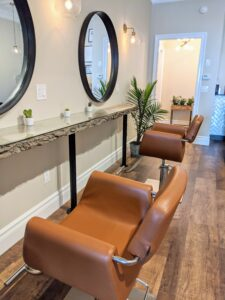 For now, the salon can safely accommodate one person every other station under proper social distancing guidelines. As a small business, Megan and Caroline adhere very closely to safety recommendations to keep everyone healthy.