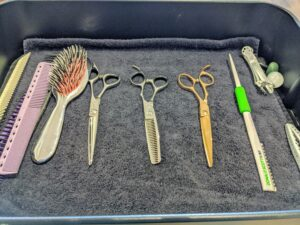 All their scissors, brushes, and other tools are kept very clean and sharp at all times. Here are just some of their tools neatly arranged in a moveable cart.