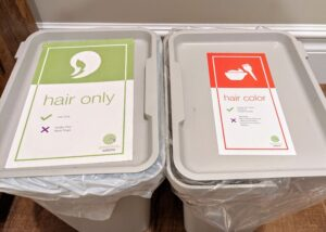 Green Circle Salons' receptacles for hair and color waste are located in the back of the salon for collections.