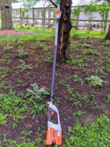 For pruning these dawn redwoods, Pasang uses this telescoping pole pruner from STIHL. It has a quiet, zero-exhaust emission, and is very lightweight. Plus, with an adjustable shaft, the telescoping pole pruner can cut branches up to 16 feet above the ground.