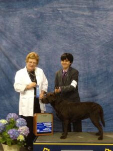 Here is a picture of me and Maggie at the first dog show I ever attended. Maggie won her class. It was a proud day for me and my family.
