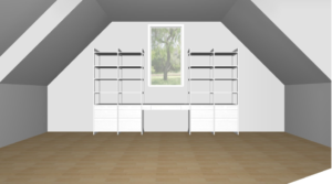 Considering the symmetrical lines of the wall and the measurements of the space, the California Closets design team and I came up with this great arrangement using their special CAD technology. California Closets offers virtual design consultations to design just the right configuration.