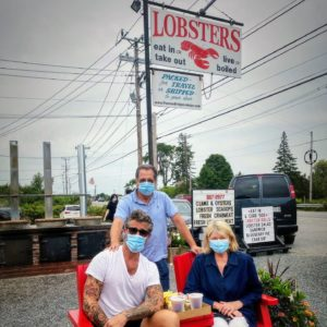 A trip to Maine is never complete without a visit to Trenton Bridge Lobster Pound. At Trenton Bridge, only one way of cooking lobster will do - boiled in fresh, clean seawater over a wood fire. Here I am with Carlos and Douglas. Kevin is taking the photo. We were very careful to wear our masks whenever we were out.
