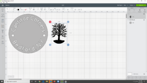 The symbol of my farm is a great sycamore tree. We have an image already stored in our files, so Shqipe used the app's uploading tool to access it. Using two colors makes the cutting easiest, so we chose gray and black.