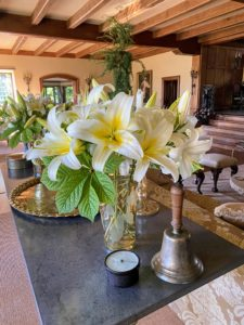 In the Living Hall - a beautiful summer lily arrangement. Kevin makes gorgeous plant and flower arrangements for Skylands every summer.