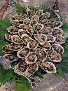 We also had Oysters Rockefeller, another of my favorites. Oysters Rockefeller consists of oysters on the half-shell that have been topped with a rich sauce of butter, parsley and other green herbs, and bread crumbs, then baked or broiled.