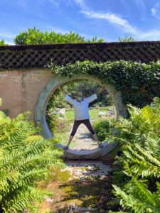 I also stood in the Moon Gate. Vitruvian Man was da Vinci's own reflection on human proportion and architecture. The purpose of the illustration is to bring together ideas about art, human anatomy and symmetry in one distinct image.
