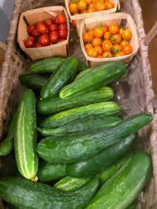 And look at all the delicious cucumbers and cherry tomatoes.