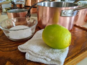 """Another method for cleaning copper is chemical-free – just use lemon juice and salt. For ratios and more details, go to """"How to Clean and Polish Copper"""" on my web site @marthastewart.com."""