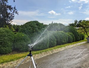 We also use sprinklers around the farm. I love these Gilmour tripod sprinklers – the height, distance and spray patterns can be adjusted to suit so many garden needs. They're also very, very sturdy, and because they're all metal, they can stand up to frequent use around the property.