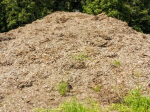 We also store piles of leaves. Called leaf mold after cold composting, it is produced by the fungal breakdown of shrub and tree leaves. Leaves are collected and left to age for a couple of years before it is reused.