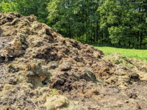Grass clippings are placed into another pile.