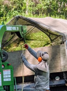 When chipping in an area where the wood chips cannot be distributed right away, they are collected into the back of the dump truck. Here's Dawa adjusting the direction of the chipper's discharge chute. The rope points the chute inside the covered truck.