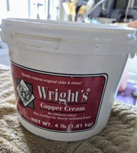 Experts recommend using a good-quality, non-abrasive commercial copper polish. I've been using Wright's metal creams for years. Wright's Copper Cream is a gentle formula that cleans and shines – it's also great for brass.