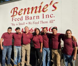I have been getting my poultry feed from Bennie's Feed Barn, Inc. for many years. Here's a photo of Bennie - third from the left - and his friendly and dependable team. If you live in Westchester, New York or the surrounding areas, and want a good source for all your farm animal needs, be sure to check out Bennie's.