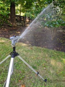 Mornings are the best times to water – when water pressure is high, evaporation is low, and the soil can absorb the water before the sun heats up the ground. I also use the Gilmour tripod sprinklers – the height, distance and spray patterns can be adjusted to suit so many garden needs.