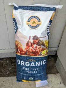 I recently started using this whole grain feed from a new company called Family Fresh Nutrition. Family Fresh Nutrition has access to a worldwide supply of fresh, organic ingredients and a support staff of expert poultry nutritionists to develop their feed. Aside from these Egg Laying Pellets, Family Fresh Nutrition also makes Organic Chicken Starter & Grower Crumbles, and Organic Egg Layer Crumbles. Their products are available at independent feed stores, such as Bennie's.