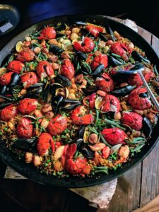 Then the paella was brought in and placed on a nearby table. We always use my paella recipe - in this one, we just omitted the meat.