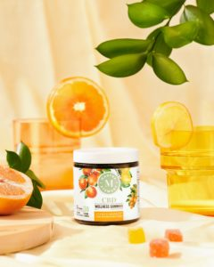 The gummies come in two flavor medleys. The citrus medley of wellness gummies includes Meyer lemon, kumquat, and blood orange. (Photo by Kimberly Tran)