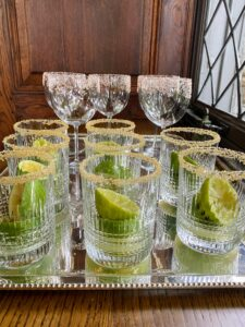 """In the evenings, I made Martha-Ritas and caipirinhas for cocktails served in glasses from Baccarat. For my Martha-Rita recipe, go to my Instagram page @MarthaStewart48 for """"Homeschool with Martha"""" - just click on this highlighted link."""