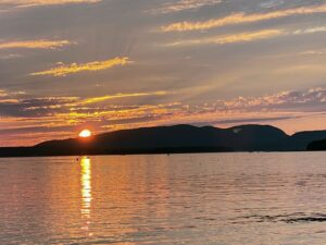 One never tires of the sunsets over Mount Desert Island. Here's a photo as the sun disappeared behind the mountains.