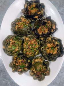 With all the wonderful artichokes from the garden, we enjoyed another batch of vegetarian stuffed artichokes.