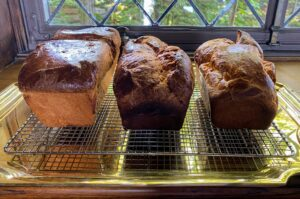 Here they are in the dining room ready to be devoured - but first, a casual photo shoot of these beautiful loaves.