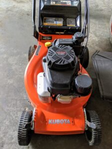For even tighter areas, we have Kubota's walk behind mower. These provide very sharp cutting. And the controls are built to be ergonomic in design, making it comfortable to use throughout the day. All the mowers have powerful Kawasaki engines, cast aluminum wheels and decks, and edge guards to protect the machines.