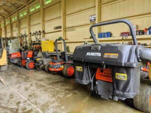 On another side, we keep our fleet of Kubota mowers. They are all parked by the back entrance to the barn – all ready for another long and busy mowing day – the right equipment for the right job in perfect condition.