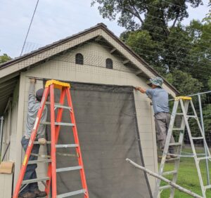 I instructed Chhiring and Dawa to put up some added shade on one side of the coop. Here they are centering the shade cloth on the east side of the structure.
