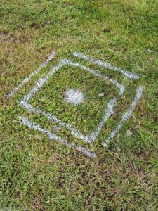 I plotted exactly where the posts would go. Chhiring marked the areas using landscape spray paint.