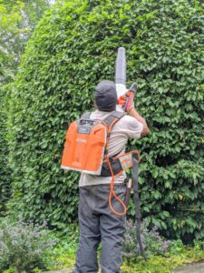 Phurba lightly blows any cut leaves off of the large hornbeam shrubs in front of my Summer House using STIHL's backpack battery and handheld blower. The backpack battery eliminates the cost of fuel and engine oil and can be used for several hours before needing another charge.