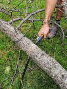 Brian cuts some of the bigger branches into smaller pieces to make everything more manageable to discard.